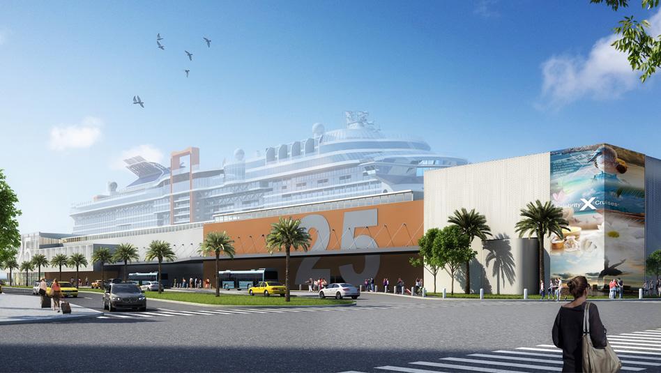 T25 - טרמינל הנוסעים החדש של סלבריטי קרוזס, שנבנה בפלורידה. הדמיה סלבריטי