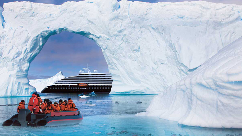 Scenic Eclipse: סיור חופים באנטארקטיקה באמצעות סירות זודיאק. הדמיה Scenic
